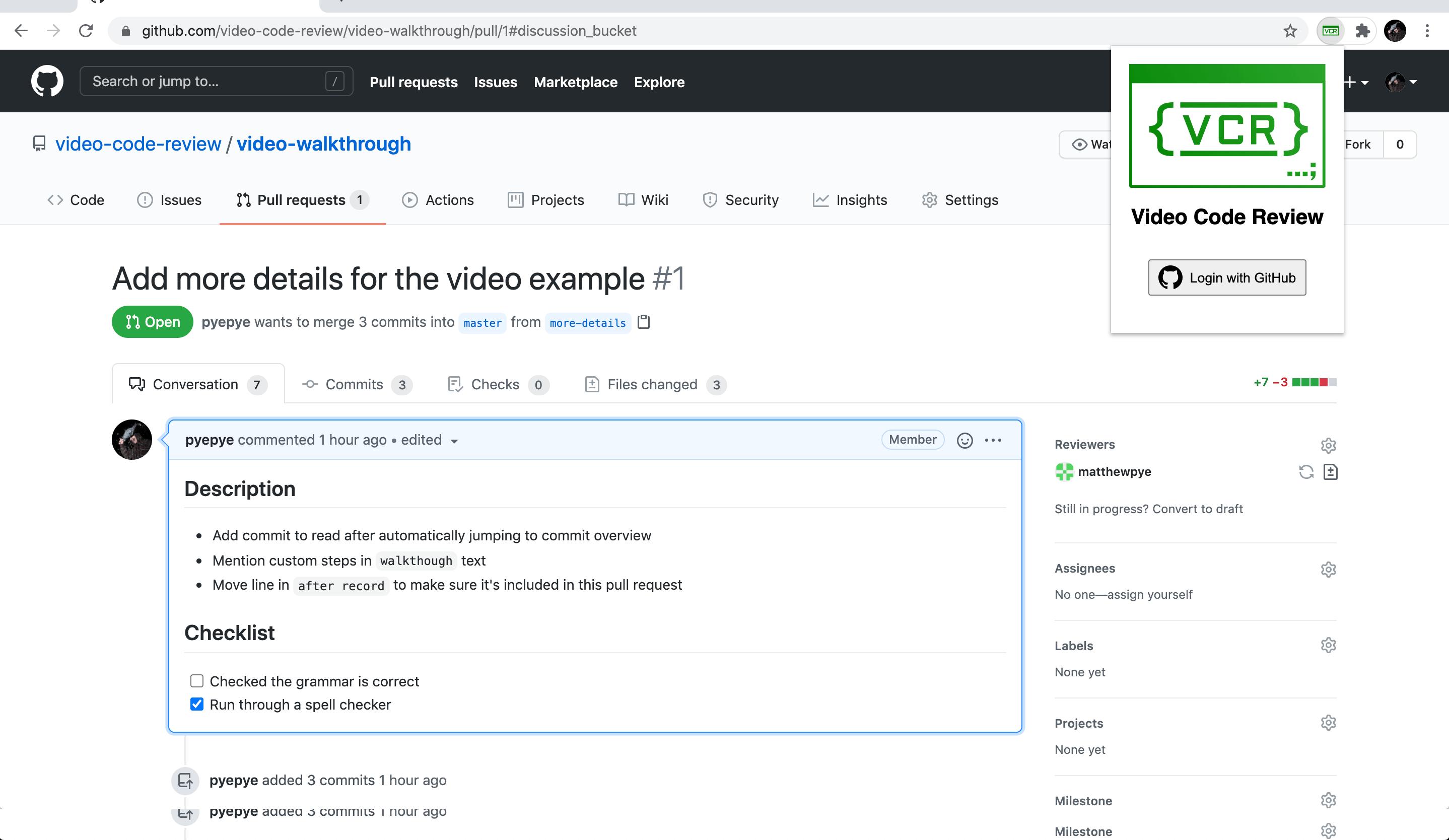 Screenshot of the extension - login via GitHub